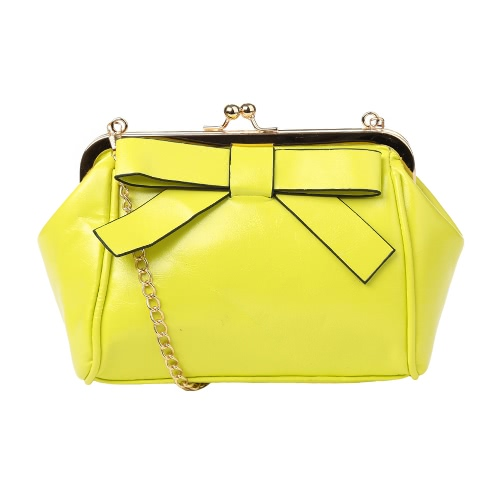 New Fashion Women Crossbody Bags PU Leather Bow Chain Strap Casual Small Shoulder Messenger Bag Handbag