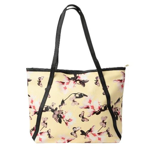 New Moda feminina bolsa floral impressão de Grande Capacidade de compras Casual Shoulder Bag Tote preto / branco / amarelo