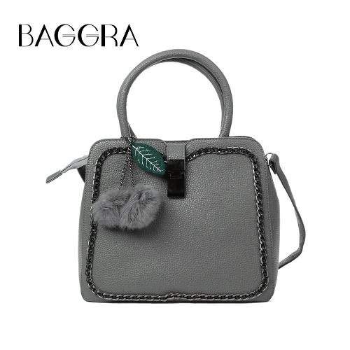 Mulheres Moda PU bolsa de couro Cadeia frontal ajustável Strap Zipper Tote Bag Crossbody Bolsa de Ombro