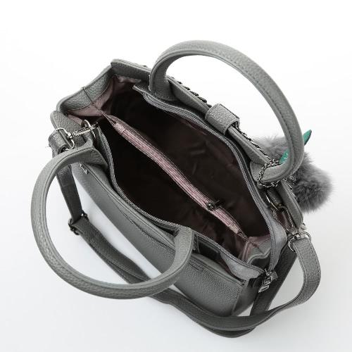 Fashion Women PU Leather Handbag Chain Front Adjustable Strap Zipper Tote Bag Crossbody Shoulder Bag