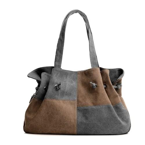Mode Frauen-Segeltuch-Handtasche Kontrast-Farben-beiläufige Kurier-Schulter-Beuteltote-Schwarz / Blau / Grau / Rot