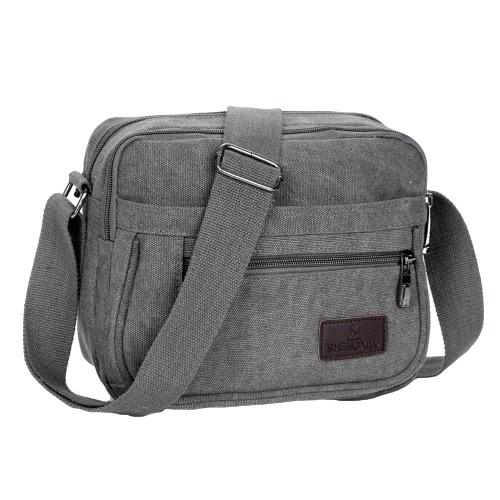 Viajes bolso ocasional pequeño de hombro al aire libre unisex nueva lona de la manera del bolso de Crossbody del bolsillo con cremallera