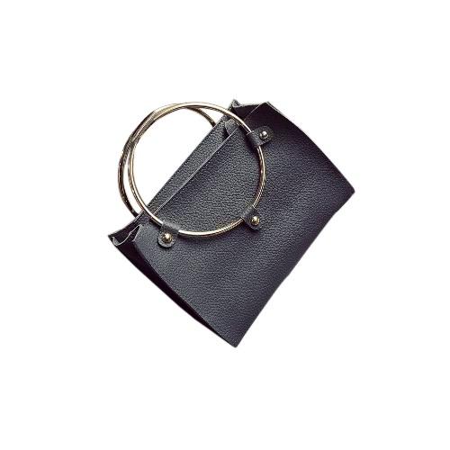 Mulheres anel de metal da bolsa PU Leather Shoulder Tote Bag Ladies Mensageiro Crossbody Saco preto / cinza / rosa