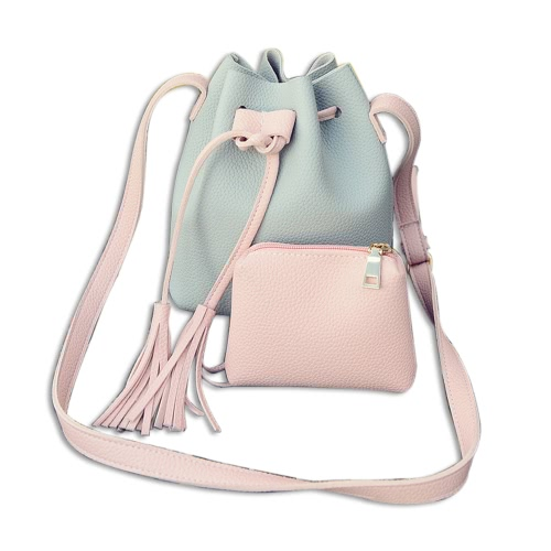 Tassel Bucket Bag Bolsa de couro Marca Messenger Bag Feminino Crossbody Shoulder Bag Embreagem Purse