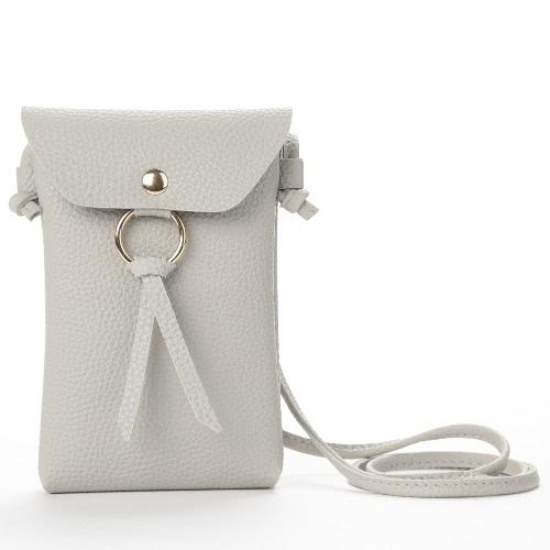 Mujeres Mini Bolsa De Hombro PU De Cuero Sólido Cuadrado Flap Frontal Pequeño Bolso Casual Messenger Bag Crossbody
