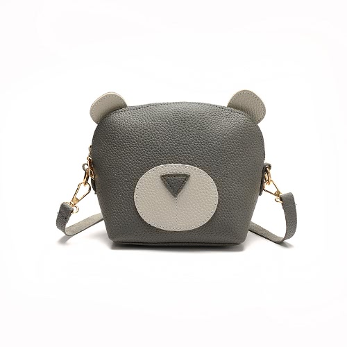Women Mini Crossbody Bag PU Leather Cute Cartoon Face Zipper Contrast Small Messenger Shoulder Bag
