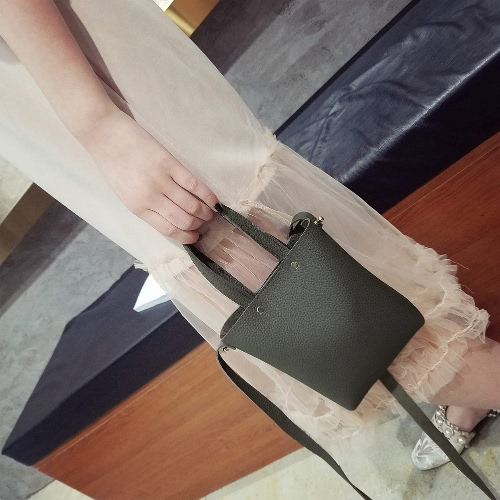 New Fashion Women Small PU Leather Lichee Pattern Handbag Shoulder Crossbody Bag Mini Bucket