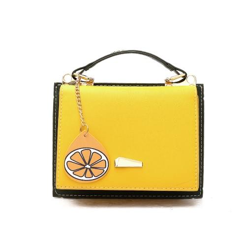 Moda Mulheres PU Leather Crossbody Shoulder Bag Tote Handbag Correia ajustável Casual Travel Bag Amarelo / Rosa