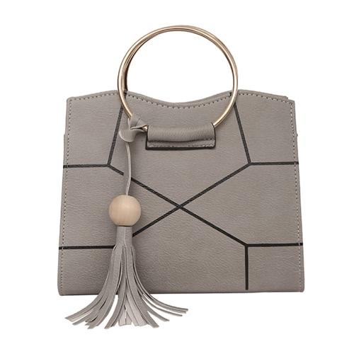 Mujeres Crossbody Bolsa de PU de cuero de contraste geométrico impresas anillo de metal borlas bolsa de hombro elegante