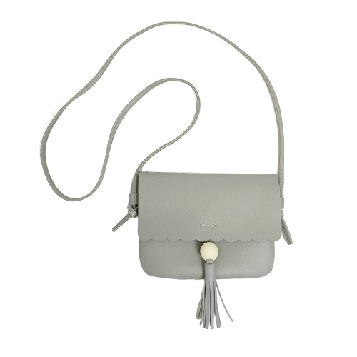 Nette Frauen Mädchen Mini Schultertasche PU Leder Perle Fransen Quasten Kleine Crossbody Tasche Grau / Braun / Schwarz