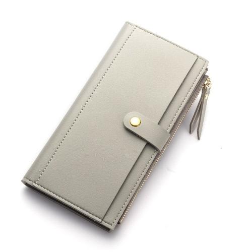 Moda Mujer Bolso De Cuero PU De Cuero Larga Carpeta Teléfono Tarjeta De Titular Zipper Cash Money Clutch Bag
