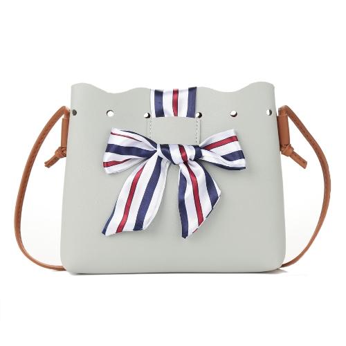 Bolso de hombro de las mujeres Contraste Cuero de LA PU que empalma Cordón de la bolsa de cubo Bolso de la cinta Bolso de Crossbody pequeño