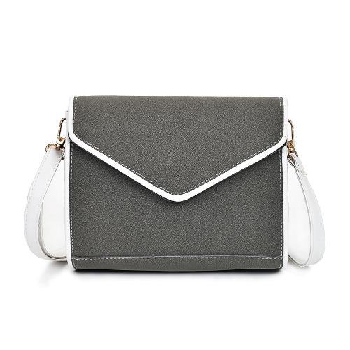 Bolso de hombro de las mujeres de la vendimia Falso cuero de Nubuck en forma de V solapa Sobre elegante bolso de mensajero de Crossbody