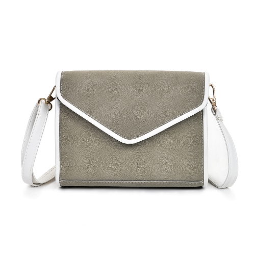 Vintage Women Shoulder Bag Faux Nubuck Leather V Shape Flap Envelope Elegant Crossbody Messenger Bag