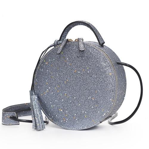 Mode Frauen Runde Umhängetasche Pailletten PU Leder Kreis Mini Schultertasche Handtasche Grau / Silber