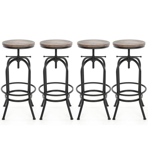 Lot de 4 Tabourets de bar style industriel assise en bois iKayaa