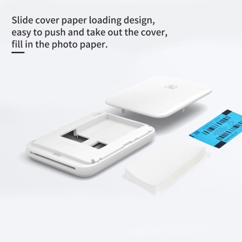 HPRT MT53 Pocket Instant Photo Printer Wireless BT Portable Mini Mobile Photo and Video Printer 313DPI Inkless Technology Support AR Photo Function with 20 Sheets 2 x 3 Inch Sticky-backed Photo Paper Compatible with iOS Android