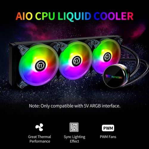 Thermaltake Hurricane S360 ARGB AIO CPU Liquid Cooler Sync Lighting Effect ARGB PWM Fans Rotatable Pump Head Multi-platforms