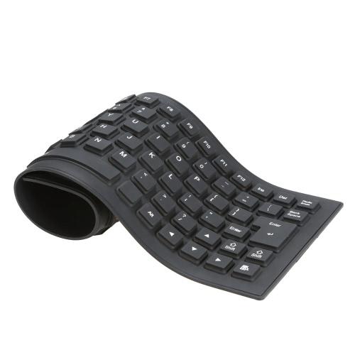 85 chaves dobrável flexível Rollup USB teclado com fio de silicone resistente à água lavável para resistente à poeira PC Notebook Laptop