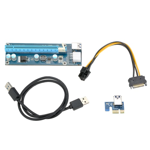 USB 3.0 PCI-E PCI E Express Extender Riser Card PCI-E 1X to 16X Adapter with SATA 15 Pin-6Pin Power Cable 60cm USB Cable for Bitcoin Mining PC Desktop Laptop