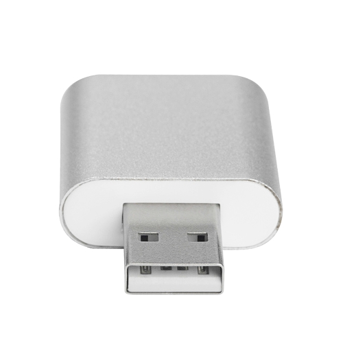 czh-h077 aluminum usb sound card external stereo 7.1 channel 3d adapter 3.5mm aux out plug and play for windows mac silver