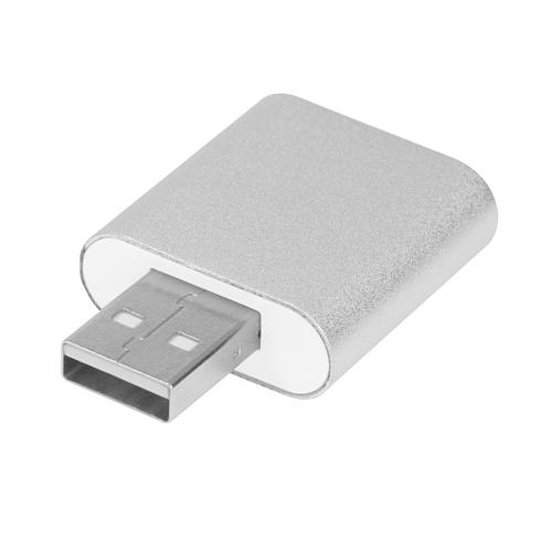 سش-H077 الألومنيوم أوسب بطاقة الصوت الخارجية ستيريو 7.1 قناة 3d محول 3.5 ملليمتر أوكس خارج التوصيل والتشغيل ويندوز ماك الفضة