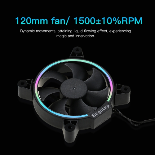 segotep 120mm computer case cooler cooling fan rgb led lights high airflow low noise