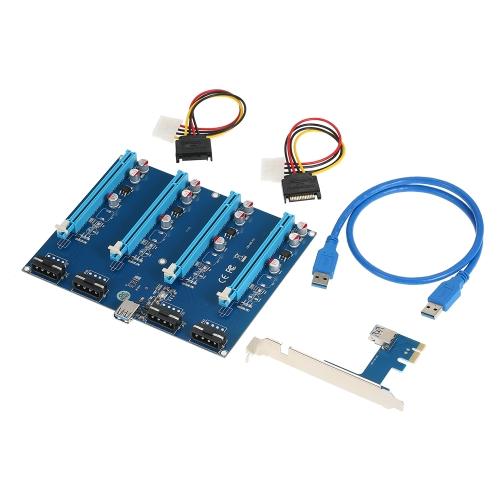 PCI-E 1 do 4 Gniazda PCI Express 16X Moduły górnicze karty Riser PCI-e 1X do zewnętrznych 4 PCIe Gniazda Adapter Pcie Mnożnik portów