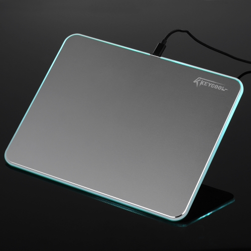 KEYCOOL KC-D03 Mouse Pad Hard Gaming Aluminum Alloy Mousepad 7 Colors LED Light Cycle Mouse Mat w/Colorful Backlit USB Cable for Games Office
