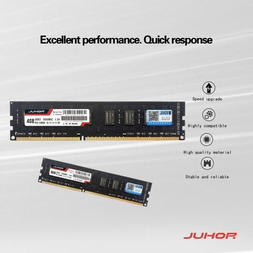 JUHOR DDR3 8GB 1600MHz 1.5V Desktop PC Memory Bank PC Memory RAM Low Power Consumption Wide Compatibility
