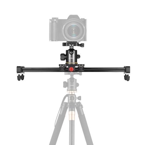Andoer 40cm / 15.7inchアルミ合金カメラビデオスライダトラックレールスタビライザボールヘッドクイックリリースプレート