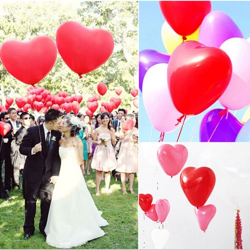 Anself 20pcs Colorful Romantic Lovely Heart en forme de ballons en latex + Anself Balloons 100 points de colle Ruban adhésif double face