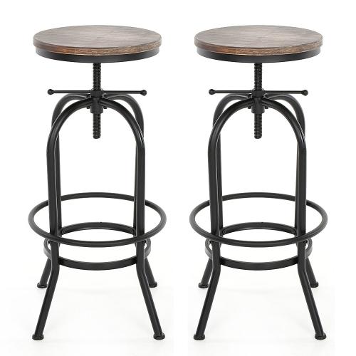 Lot de 2 Tabourets de bar style industriel assise en bois iKayaa