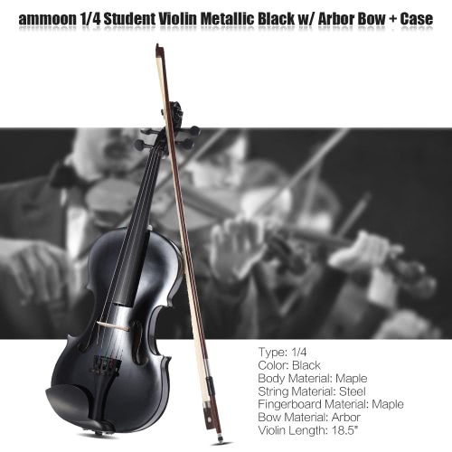 ammooon 1/4 Student Violin Metallic Black Equipped with Steel String w/ Arbor Bow for Beginners Music Lovers + ammoon AMT-01GB Mul