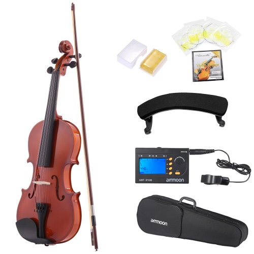 ammoon 1/4 Natural Acoustic Violin Fiddle Spruce Steel String with Case Arbor Bow for Music Lovers Beginners +  ammoon AMT-01GB Multifunctional 3in1 Digital Tuner + Metronome + Tone Generator for Chromatic Guitar Bass Violin + 4pcs A Set of Violin Strings + Violin Shoulder Rest