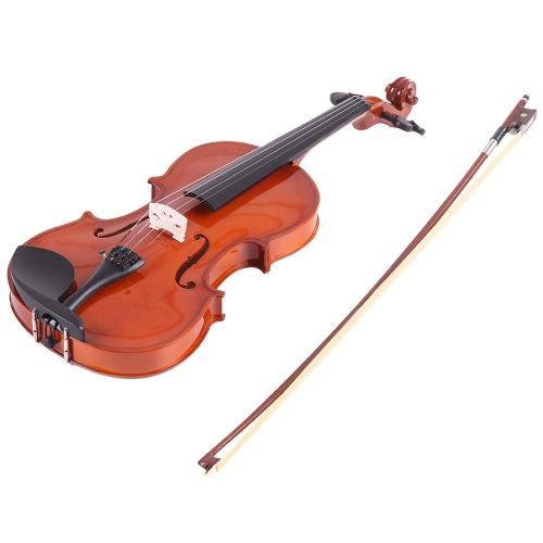 Ammoon 1/4 Violín acústico natural Fiddle Cadena de acero Spruce con el caso Arbor arco para los amantes de la música Principiantes + ammoon AMT-01GB Multifuncional 3in1 sintonizador digital + Metrónomo + generador de tonos para guitarra cromática Violín