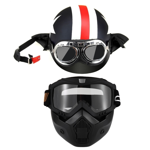 Motorcycle Helmet with Goggles Visor Scarf Touring Helmet for Harley +Mask Detachable Goggles and Mouth Filter for Open Face Helmet