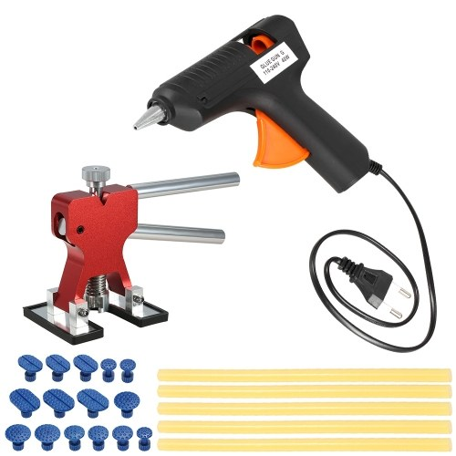 Car Paintless Dent Repair Tools Dent Puller +15 Pcs Glue Tabs +110-240V 40W Hot Melt Glue Gun w/ 10pcs Glue Sticks