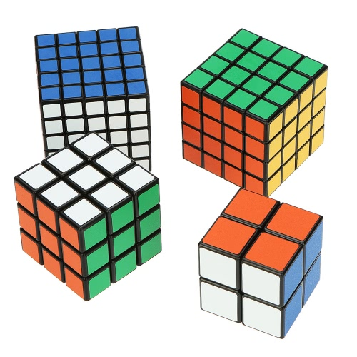 Original Shengshou 2 * 2 * 2 Magic Cube +  3 * 3 * 3 Speed Twist Cube + 4 * 4 * 4 Square Puzzle + 5 * 5 * 5 ABS Ultra-smooth Cubo Bundle Pack Set Matte Sticker Black Ground