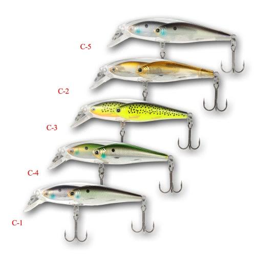 Pesce del gruppo 5pcs attrae Minnow Lure galleggiante SwimBait duro plastica 3d Fish Eye