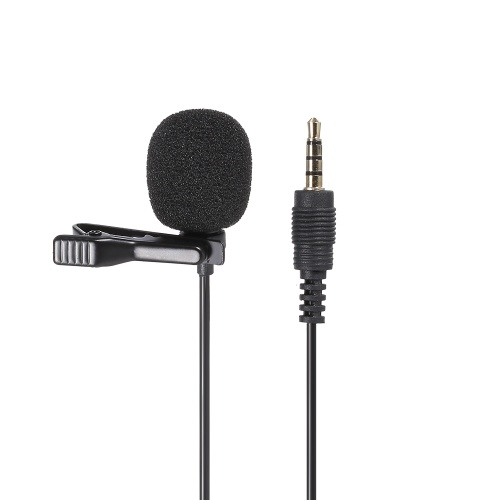 GL-119 3.5AUX Lavalier Microphone Omni Directional Condenser Microphone Superb Sound for Audio and Video Recording Black