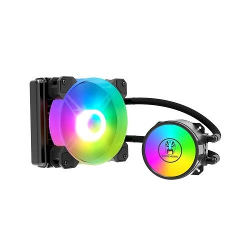 COOL MOON Cold Moon 120 Einteiliger PC-Gehäuse-Wasserkühler mit RGB 120 mm leisem Lüfter CPU-Flüssigkeitskühler für LGA775 / 115X / AM4 / AM3 / FM2