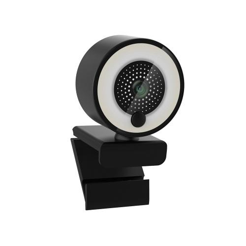 Cámara web HD 1080P con luz de relleno de anillo Enfoque automático Micrófono incorporado Cámara web para video / transmisión en vivo / videoconferencia Tipo suave