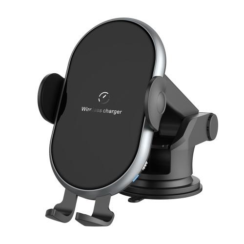 X366 Car Wireless Charger Vollautomatische Fahrzeughalterung 10W Schnellladung Intelligenter Induktionshalter mit Spannhalterung Grau