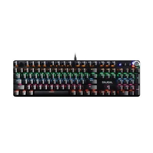 Tastiera meccanica cablata USB 104 Tastiera da gioco anti-ghosting Tastiera retroilluminata a LED con interruttori blu Copritasti a sospensione neri
