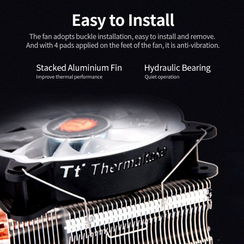 Thermaltake RGB CPU Cooler PWM Snap-on Fan 4 Direct Contact Heat Pipes Through Fin Technology Multi-platforms Static RGB Color