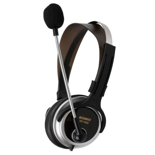 Somic SH908 sobre-orelha baixo PC Stereo fones de ouvido fone de ouvido fone de ouvido 3,5 mm, com fio para computador portátil com microfone