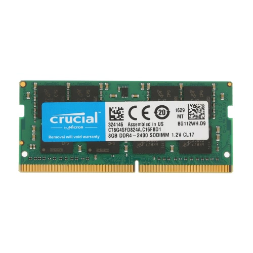 Crucial 8GB Pojedyncza DDR4 2400MT / s PC4-19200 CL17 1.2V SODIMM 260-pin Pamięć Laptop Notebook CT8G4SFD824A