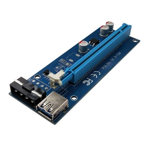 PCI-E Express 1X a 16X Riser Card Cabo de extensor USB 3.0 de 4 pinos com fonte de alimentação para mineração Bitcoin