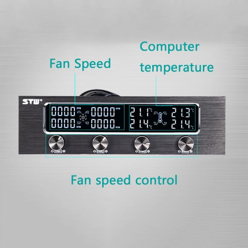 Sunshine-tipway STW Multi-Function PC CPU 4 Channel Fan Controller Speed Control Adjuster LCD Cooling Front Panel